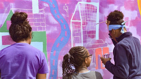 Illinois Art Station youth painting outdoor mural
