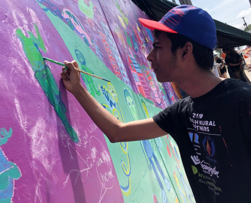 Illinois Art Station 2019 Youth Mural Project Painting Day 4