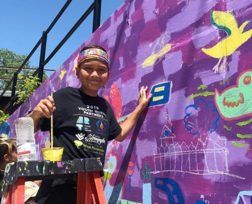 Illinois Art Station 2019 Youth Mural Project Painting Day 3