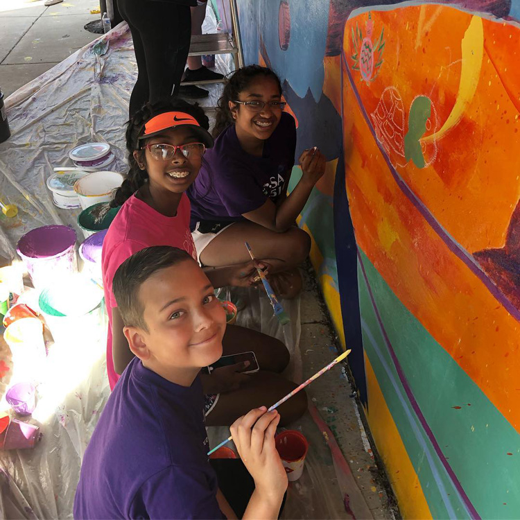 Illinois Art Station 2019 Youth Mural Project Painting Day 2