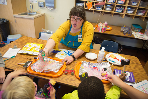Illinois Art Station Art Educator with the kids