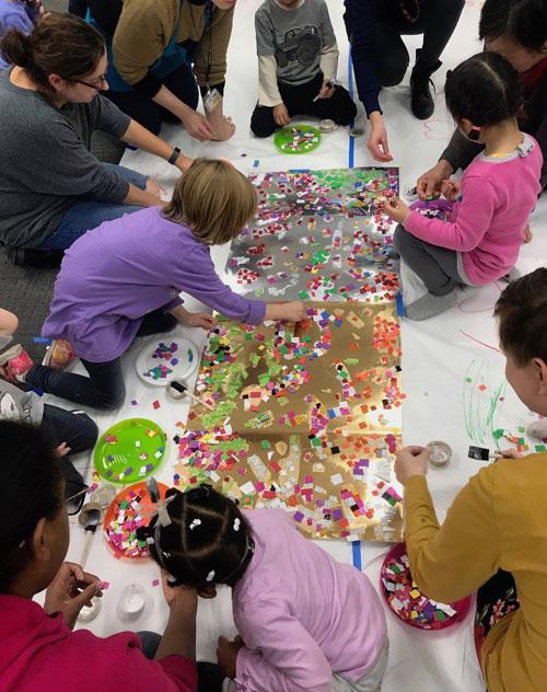 Illinois Art Station group collage activity