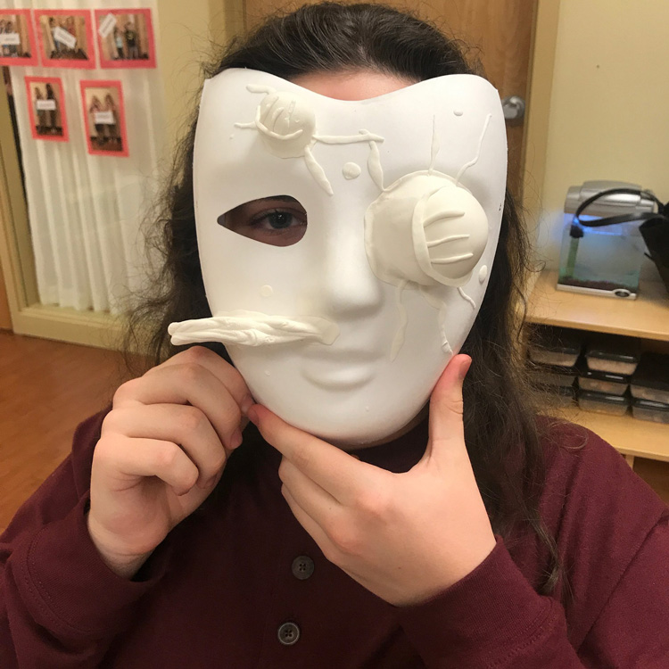 Illinois Art Station - Mask mold and painting